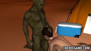Sexy 3D cartoon babe gets double teamed by goblins